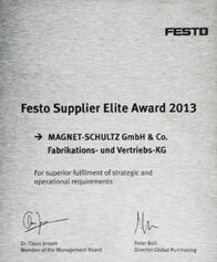 [Translate to it:] FESTO Supplier Elite Award 2013
